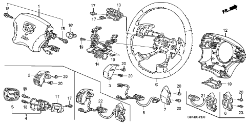2005 accord EXL(NAVI) 4 DOOR 5MT STEERING WHEEL (SRS) (L4) diagram