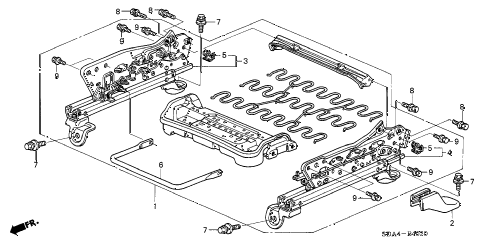 2003 accord LX 4 DOOR 5MT FRONT SEAT COMPONENTS (R.) (MANUAL SEAT) (1) diagram