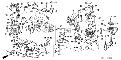 2004 accord LX(V6) 4 DOOR 5AT ENGINE MOUNTS (V6) (AT) diagram