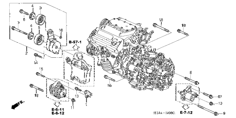 2006 accord EX(V6 NAVI) 4 DOOR 6MT ALTERNATOR BRACKET (V6) diagram