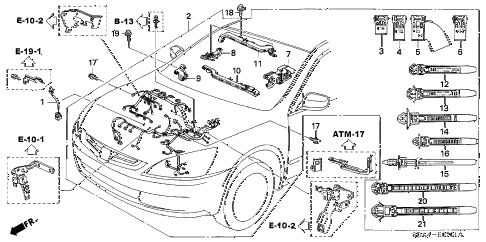 2006 accord EX(V6 NAVI) 4 DOOR 6MT ENGINE WIRE HARNESS (V6) diagram