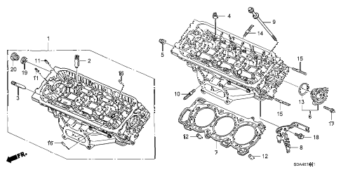 2006 accord EX(V6 NAVI) 4 DOOR 6MT FRONT CYLINDER HEAD (V6) diagram