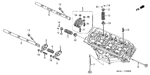2006 accord EX(V6 NAVI) 4 DOOR 6MT VALVE - ROCKER ARM (RR.) (V6) diagram