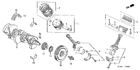 2006 accord EX(V6 NAVI) 4 DOOR 6MT CRANKSHAFT - PISTON (V6) diagram
