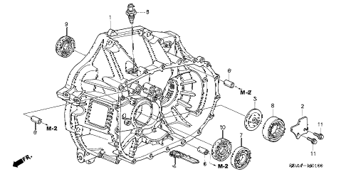 2005 accord DX(VALUE PACKAGE) 4 DOOR 5MT MT CLUTCH CASE (L4) diagram