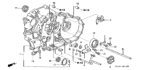 2006 accord EX(V6 NAVI) 4 DOOR 6MT MT CLUTCH CASE (V6) diagram