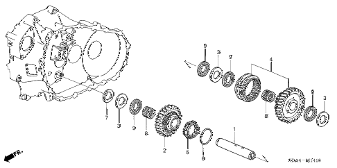 2006 accord EX(V6 NAVI) 4 DOOR 6MT MT REVERSE GEAR SHAFT (V6) diagram