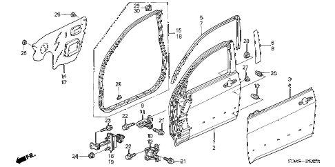 2005 accord LX 4 DOOR 5MT FRONT DOOR PANELS diagram