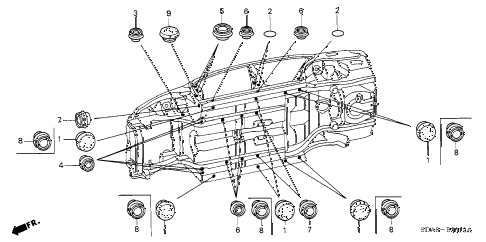 2004 accord EXL(NAVI) 4 DOOR 5MT GROMMET (LOWER) diagram