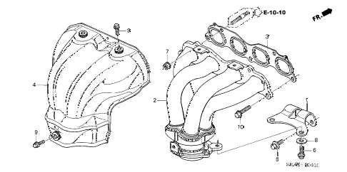 2006 accord SE 4 DOOR 5MT EXHAUST MANIFOLD (L4) diagram