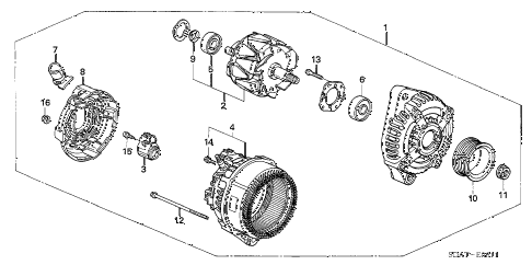 2006 accord EX(V6 NAVI) 4 DOOR 6MT ALTERNATOR (DENSO) (V6) diagram