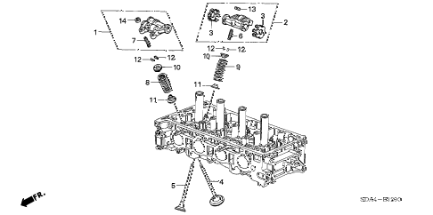 2004 accord EX 2 DOOR 5MT VALVE - ROCKER ARM (L4) diagram