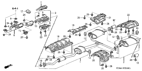 2004 accord EX(V6) 2 DOOR 6MT EXHAUST PIPE (V6) diagram