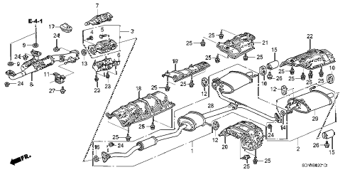 2004 accord EX(V6 NAVI) 2 DOOR 6MT EXHAUST PIPE (V6) diagram