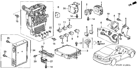 2003 accord EXL 2 DOOR 5MT CONTROL UNIT (CABIN) diagram