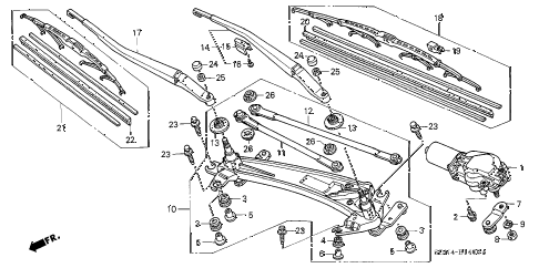 2005 accord LX 2 DOOR 5MT FRONT WINDSHIELD WIPER diagram