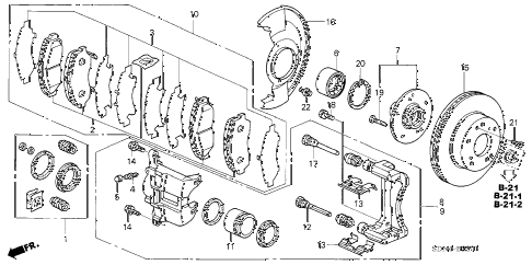 2003 accord EX(V6 NAVI) 2 DOOR 6MT FRONT BRAKE (2) diagram