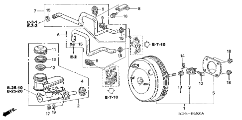 2005 accord SE 2 DOOR 5MT BRAKE MASTER CYLINDER  - MASTER POWER (1) diagram