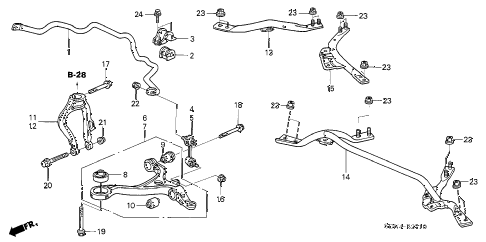 2004 accord LX 2 DOOR 5MT FRONT LOWER ARM diagram