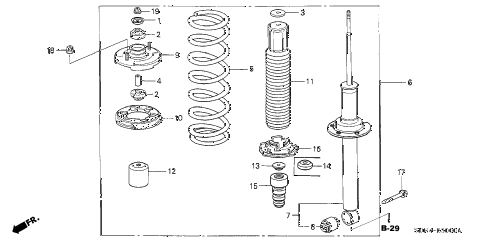2004 accord LX 2 DOOR 5MT REAR SHOCK ABSORBER diagram