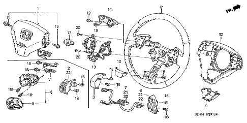 2004 accord EX(V6) 2 DOOR 6MT STEERING WHEEL (SRS) diagram
