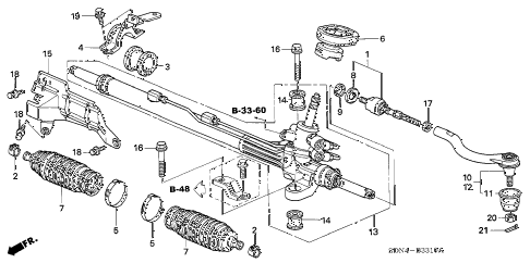 2004 accord LX 2 DOOR 5MT P.S. GEAR BOX (L4) diagram