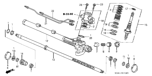 2004 accord EX 2 DOOR 5MT P.S. GEAR BOX COMPONENTS (L4) diagram