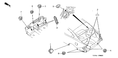 2004 accord LX 2 DOOR 5MT GROMMET (RR.) diagram