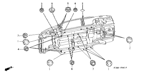 2005 accord EXL(NAVI) 2 DOOR 5MT GROMMET (LOWER) diagram