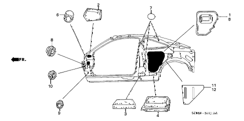 2003 accord EX(V6 NAVI) 2 DOOR 6MT GROMMET (SIDE) diagram