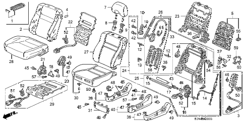 2003 accord EXL 2 DOOR 5MT FRONT SEAT (L.) diagram