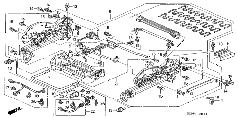 2004 accord EX(SIDE CURTAIN) 2 DOOR 5MT FRONT SEAT COMPONENTS (L.) (POWER HEIGHT) diagram