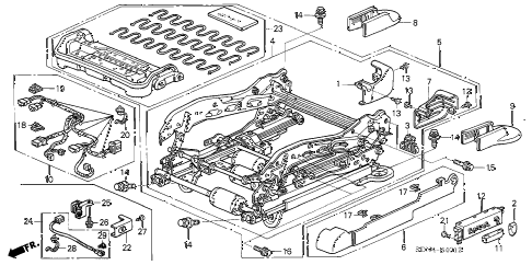 2004 accord EX(V6 NAVI) 2 DOOR 6MT FRONT SEAT COMPONENTS (L.) (8WAY POWER SEAT) diagram