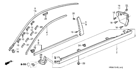 2004 accord EX(SIDE CURTAIN) 2 DOOR 5MT MOLDING - SIDE SILL GARNISH diagram
