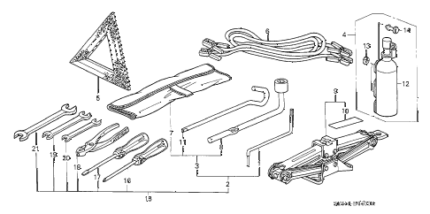 2004 accord EX(V6) 2 DOOR 6MT TOOLS - JACK diagram