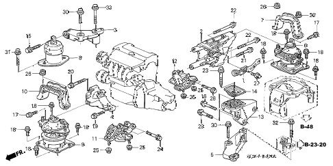 2006 accord LX 2 DOOR 5MT ENGINE MOUNTS (L4) (MT) diagram