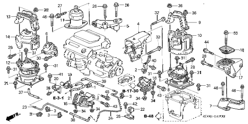 2005 accord EX(V6 NAVI) 2 DOOR 6MT ENGINE MOUNTS (V6) (MT) diagram