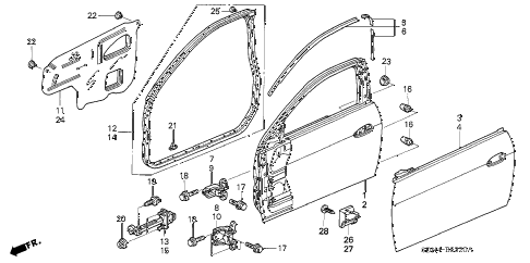 2003 accord EXL 2 DOOR 5MT DOOR PANELS diagram