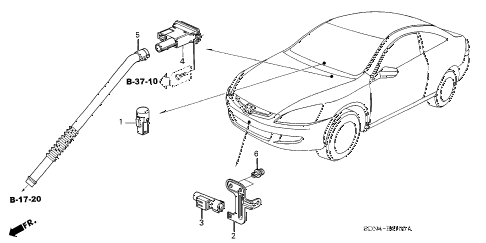 2003 accord EX(V6 NAVI) 2 DOOR 6MT A/C SENSOR diagram