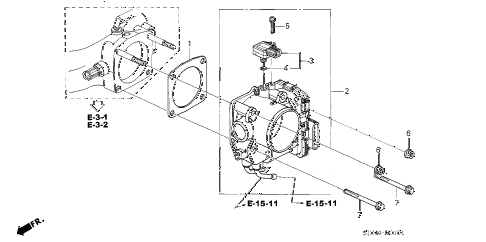 2005 accord EX(V6 NAVI) 2 DOOR 6MT THROTTLE BODY (V6) diagram