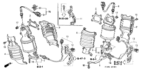 2003 accord EX(V6 NAVI) 2 DOOR 6MT EXHAUST MANIFOLD (V6) diagram