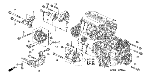 2006 accord LX 2 DOOR 5MT ENGINE MOUNTING BRACKET (L4) diagram