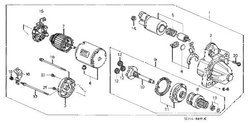 2005 accord SE 2 DOOR 5MT STARTER MOTOR (MITSUBISHI) (L4) diagram