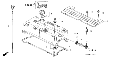 2005 accord SE 2 DOOR 5MT CYLINDER HEAD COVER (L4) diagram