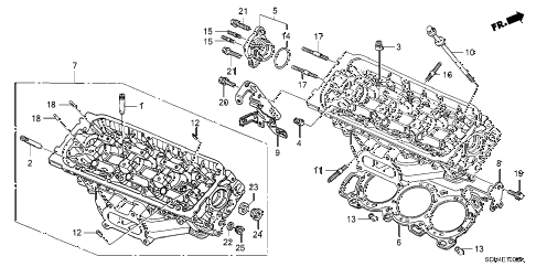 2003 accord EX(V6 NAVI) 2 DOOR 6MT REAR CYLINDER HEAD (V6) diagram