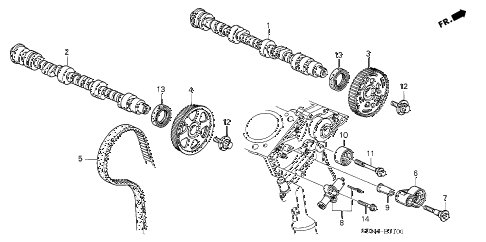 2004 accord EX(V6) 2 DOOR 6MT CAMSHAFT - TIMING BELT (V6) diagram