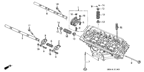 2004 accord EX(V6 NAVI) 2 DOOR 6MT VALVE - ROCKER ARM (FR.) (V6) diagram
