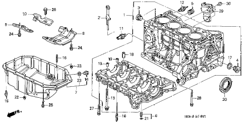 2006 accord LX 2 DOOR 5MT CYLINDER BLOCK - OIL PAN (L4) diagram