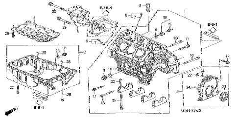 2004 accord EX(V6 NAVI) 2 DOOR 6MT CYLINDER BLOCK - OIL PAN (V6) diagram