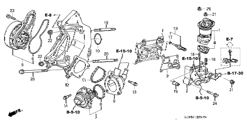 2005 accord LX 2 DOOR 5MT WATER PUMP - SENSOR (L4) diagram